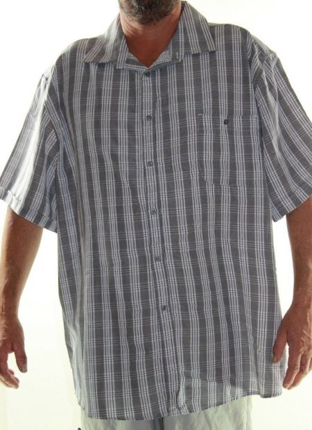 Short Sleeve Shirt JOE & CO Big Mens Size 7XL Grey White Stripe Check Plus