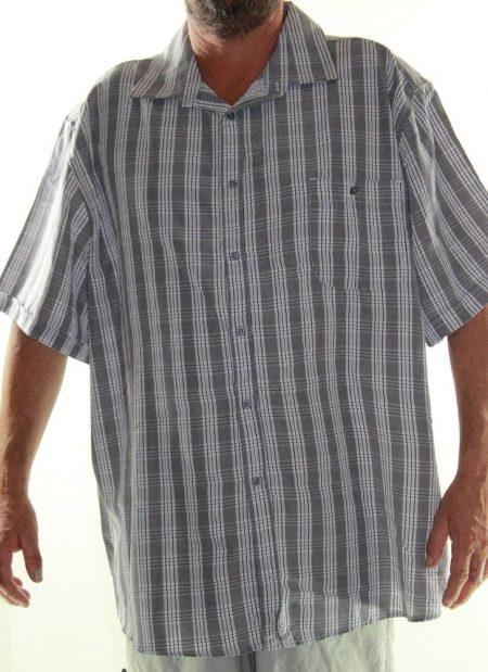 Short Sleeve Shirt JOE & CO Big Mens Size 7XL Grey White Stripe Check Plus