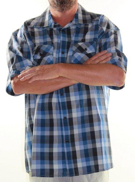 Short Sleeve Shirt PRODIGY Big Mens Size 5XL Blue Black Check Plus