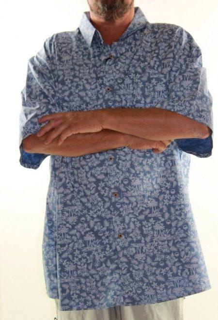Short Sleeve Shirt PRODIGY Big Mens Size 7XL Blue Hawaiian Tropical Plus