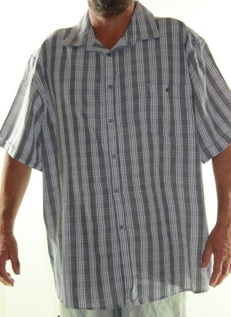 Short Sleeve Shirt Plus Size 5XL 7XL JOE & CO Lowes Big Mens Grey White Stripe