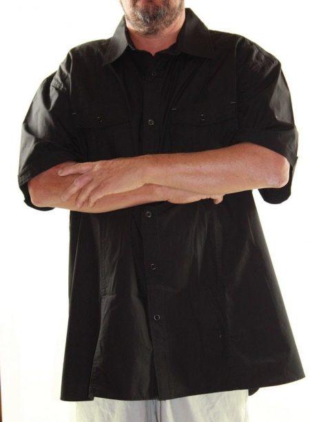 Short Sleeve Shirt ROGUE Big Mens Size 5XL 7XL Black Cotton Plus