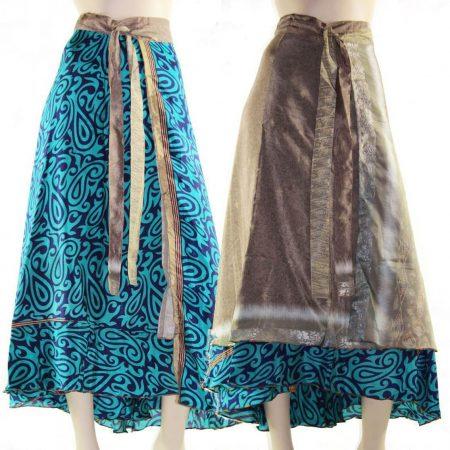 Silk Wrap Skirt Size 8 - 16 Reversible Maxi Long Dress Top so many ways to wear