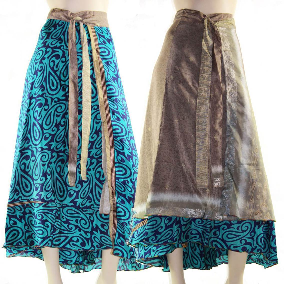 Silk Wrap Skirt Size 8 – 16 Reversible Maxi Long Dress Top so many ways to wear