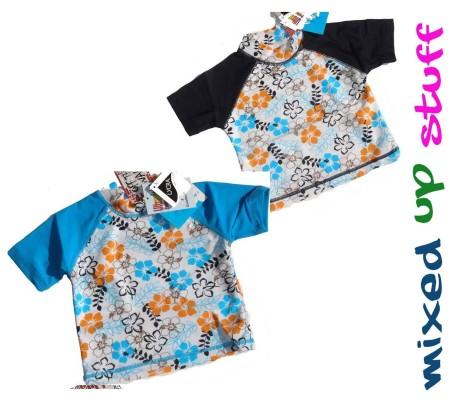 Size 00 0 1 2 3 BaBy GirlS Blue White Black Floral Rashie Rash Vest Swimwear
