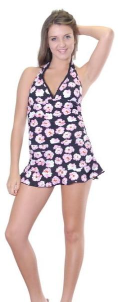 Size-8-12-14-Women-Black-One-Piece-Retro-Swimwear-Skirt-Bathers-Vintage-Style-320779581966