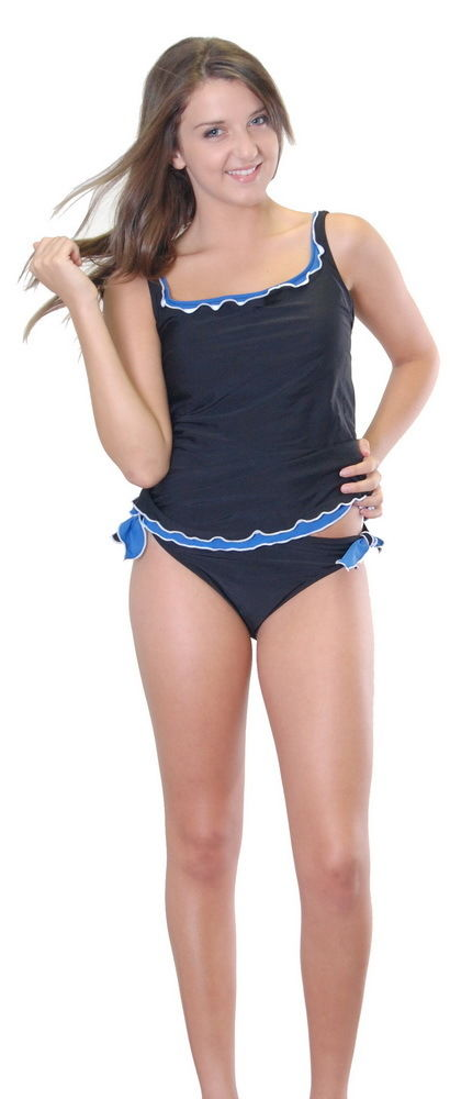 Size 8 Women Black Blue Tankini Bathers Swimwear Ruffle