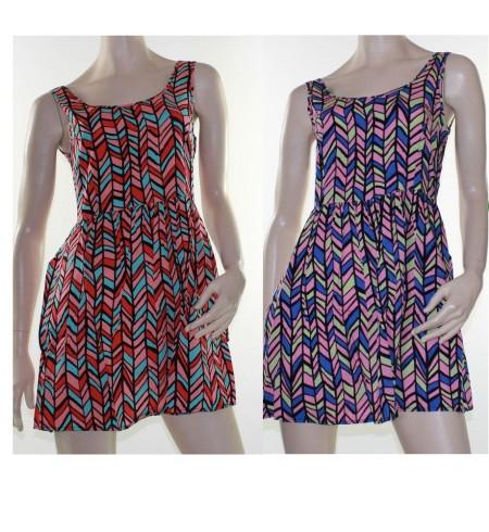 Skater Dress Zig Zag Swing Sz 8 10 12 14 EMBELLISHED Cobalt Blue Coral Pink