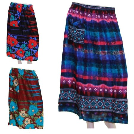 Skirt-Casual-Plus-Size-16-22-28-Multi-Coloured-Bright-Summer-Black-Blue-Beach-221666727462