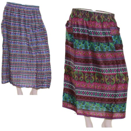 Skirt-Casual-Plus-Size-16-22-Multi-Coloured-Bright-Summer-Floral-Purple-Paisley-321646518185