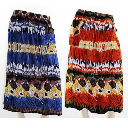 Skirt Casual Plus Size 28 Multi Coloured Bright Summer Blue Red Floral
