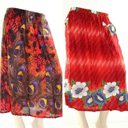 Skirt Plus Size 24 Midi Casual Multi Coloured Bright Summer Rayon Cool Beach Sun