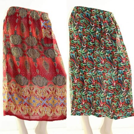 Skirt Plus Size 26 Casual Midi Multi Coloured Bright Summer Rayon Cool Beach Sun
