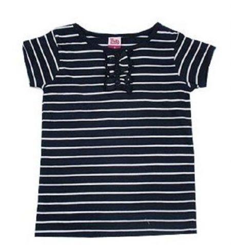 Sz 0 1 2 3 4 5 6 Girls Baby H & T Navy White Stripe Ruffle Top Tee