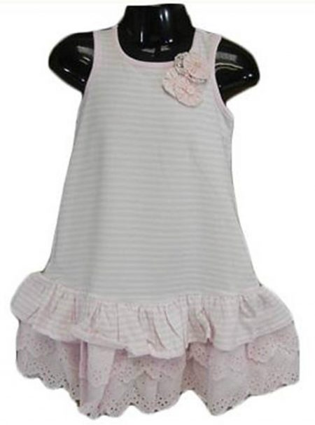 Sz 00 - 4 BaBy Girl Pink White Stripe Dress Ruffle Flower Smock Cotton