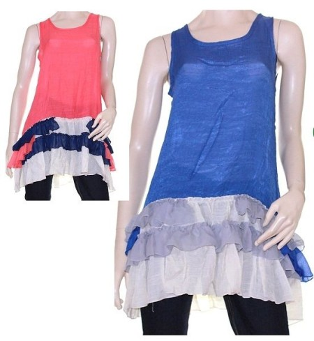 Sz 10 12 14 16 18  Women EVERSUN Blue Coral Crinkle Tunic Blouse Top Ruffle