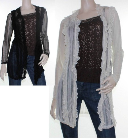Sz 10 12 14 16 18 Women NEW COVER Black Beige Drape Cardigan Ruffle Jacket Sheer