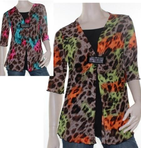 Sz 10 12 14 16 Women ELEGANT Pink Blue Orange Green Leopard Top Blouse Jewel
