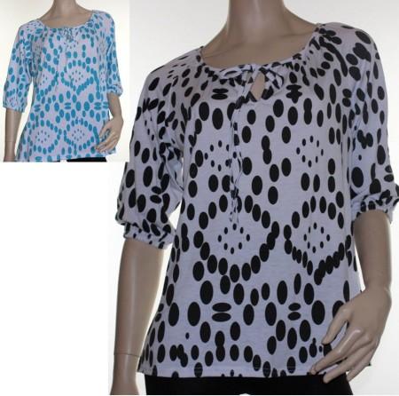Sz 10 12 14 16 Women ELEGANT White Black Blue Spot Dots Smock Blouse Top Shirt