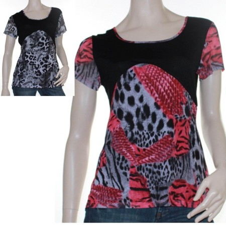 Sz 10 12 14 16 Women NEW COVER Pink Grey White Black Leopard Blouse Top Abstract