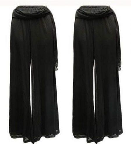 Sz-10-12-14-Women-SUN-ROSE-Black-Drape-Flowing-Dress-Pant-Sheer-Lined-321577433995
