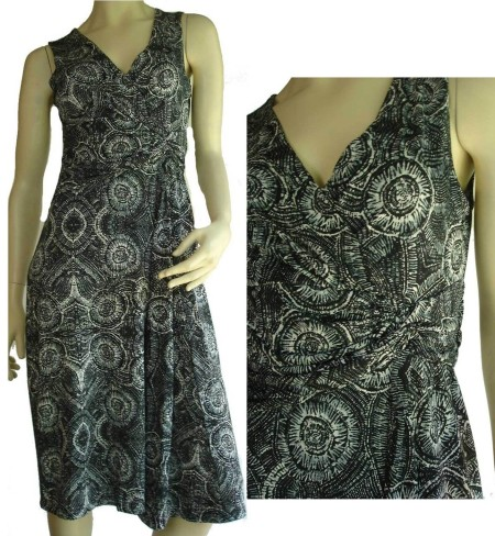 Sz 10 14 18 Women NEW COVER Black White Grey V Neck Dress Abstract Party Shift