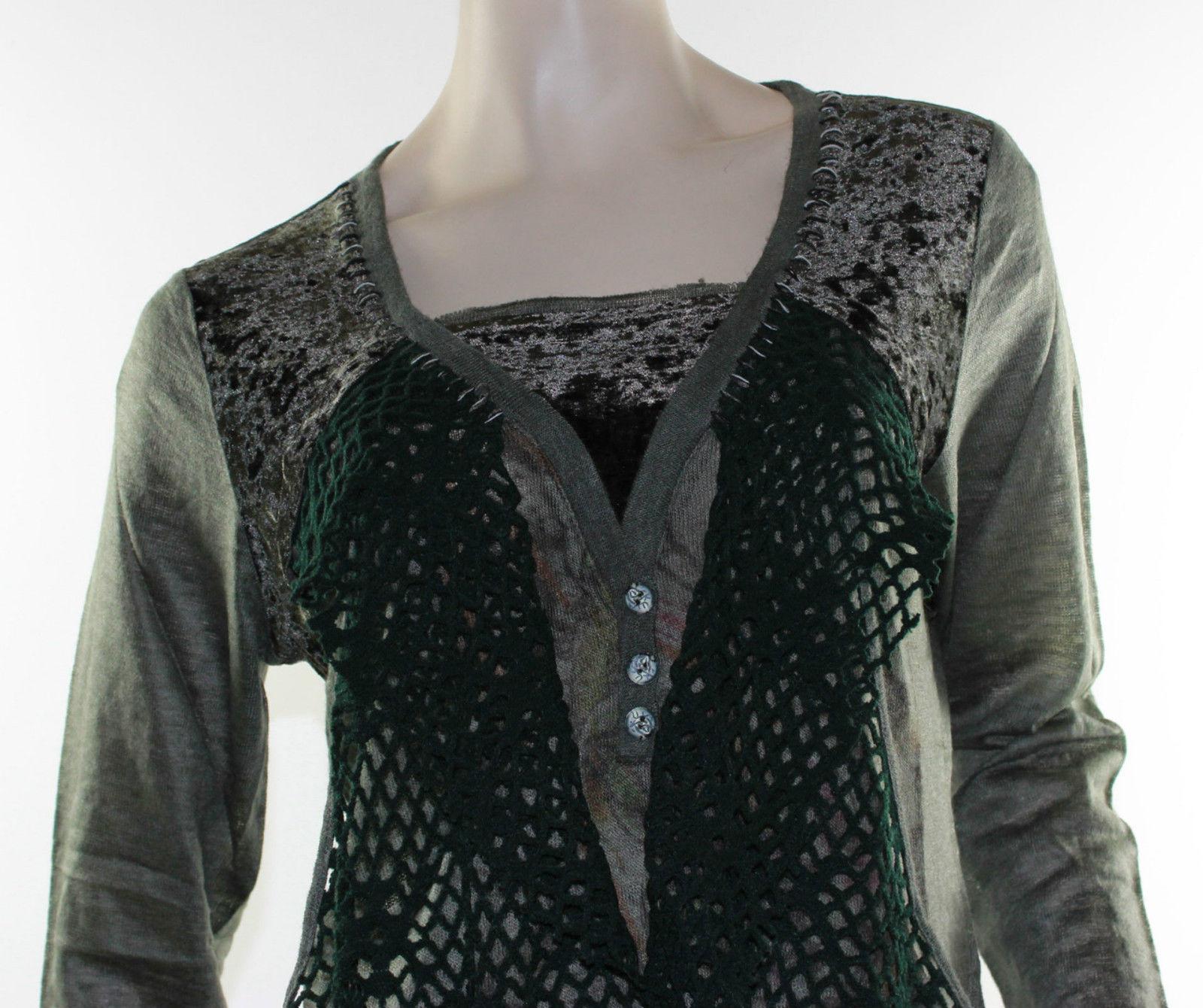 Sz 12 14 16 LIOR Dark Green Tunic Top Blouse Abstract Plush Velvet ...