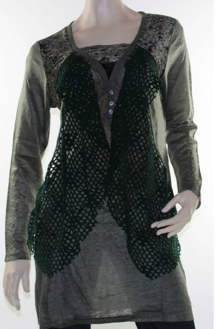 Sz 12 14 16 LIOR Dark Green Tunic Top Blouse Abstract Plush Velvet Knit Lace