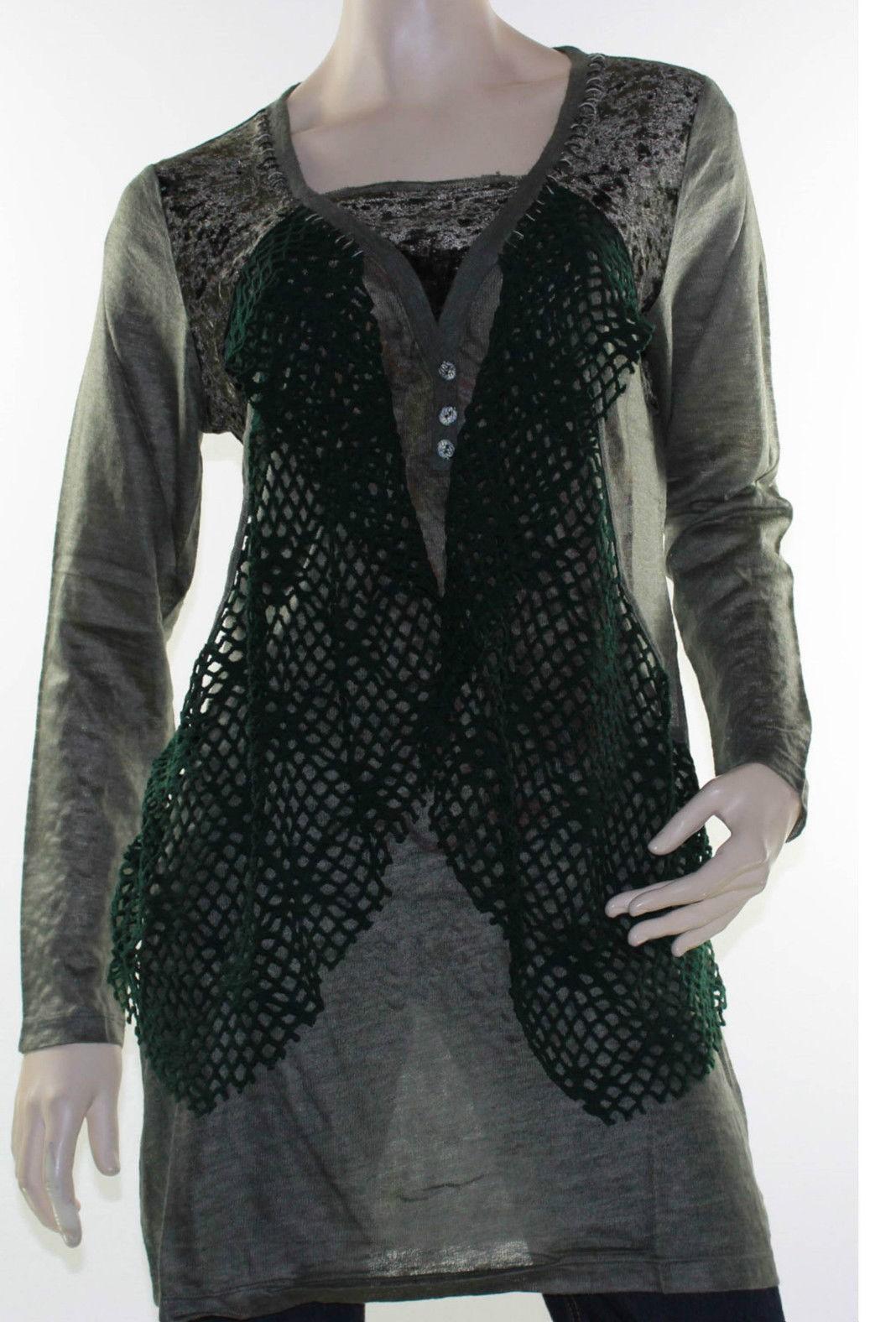 Sz 12 14 16 Lior Dark Green Tunic Top Blouse Abstract