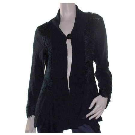 Sz 14 16 18 20 22 24 SUN ROSE Black Drape Tunic Cardigan Panelled Soft Cardi