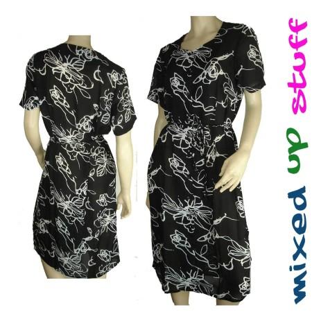 Sz 14 16 18 20 Women ELEGANT Black White Dress Rose Abstract Sweetheart Office