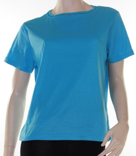 Sz 14 18 Women ELEGANT Aqua Blue T-Shirt Blouse Feature Neckline Tee