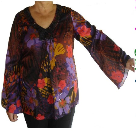Sz 14 Women OPM Purple Black Red Floral Top Blouse V Neck Beaded Bell Sleeve
