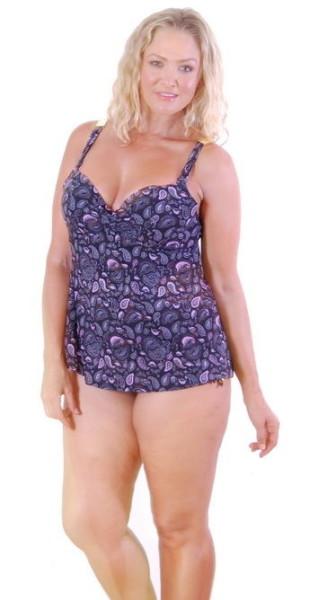 Sz-16-18-20-22-24-26-Tankini-Black-Pink-Paisley-Bather-Swimwear-Plus-Women-221093535567