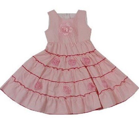 Sz 2 3 4 5 6 7 Girl Special Occasion Pink Party Dress Ruffle Layer Flower Sweet