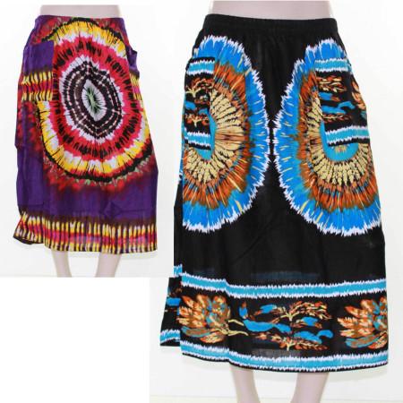 Sz 20 Purple Blue Tie Dye Beach Casual Skirt Plus Multi Coloured Bright Sun