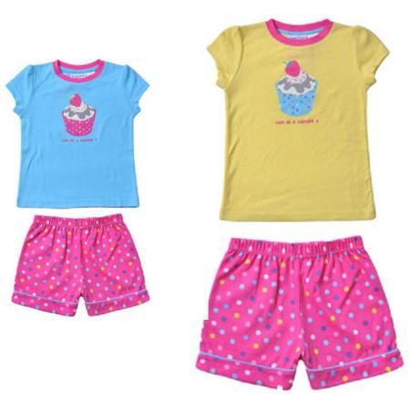 Sz 3 - 7 Girl TWEET TWOO Yellow Blue Pink Cupcake PJ Pyjama Pajama Cute Spot