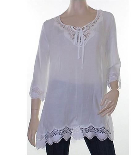 Sz 8 10 12 14 16 CKM Caroline Morgan White Top Blouse Lace Scallop Hem Viscose