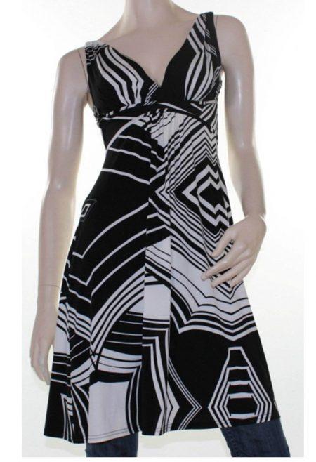 Sz 8 10 12 14 16 Women CKM Black Cream Abstract Dress Tunic Top Blouse Stripe