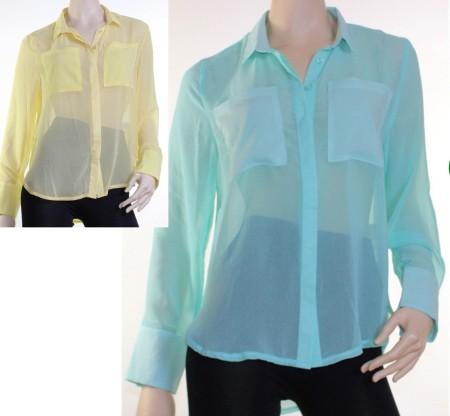 Sz 8 10 12 14 Caroline Morgan CKM Lemon Yellow Mint Blue Sheer Blouse Shirt