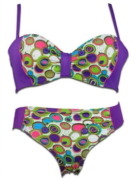 Sz 8 10 12 14 Women PURPLE RETRO SPOT DOT WHITE GREEN BIKINI BATHERS SWIMWEAR