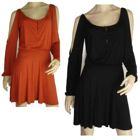 Sz 8 10 12 Women Black Orange Dress Split Sleeve Open Back Smock Shift Office EF