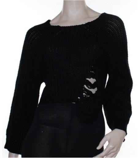 Sz 8 10 12 Women CKM Black Crop Jumper Chunky Knit Retro Oversized Distresssed