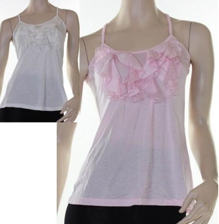 Sz 8 10 12  Women LUSHOUS Pink White Cami Tank Blouse Ruffle Shirt Racer Back