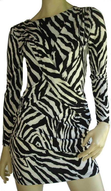 Sz 8 10 Women Black White Leopard V Back Mini Dress Top Party Cocktail Sexy