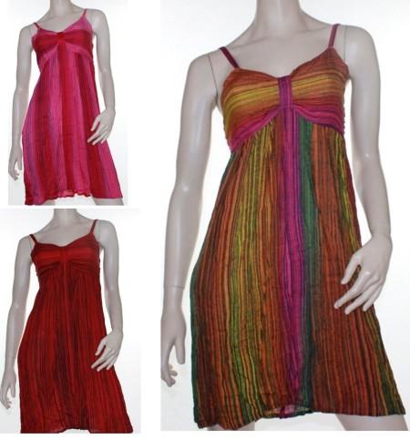 Sz 8 - 10 Women Pink Green Red Crinkle Dress Boho Gypsy Beach Surf Vivid Sun