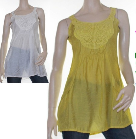 Sz 8 12 Women CKM White Chartreuse Yellow Tunic Top Blouse Ruffle Boho Gypsy