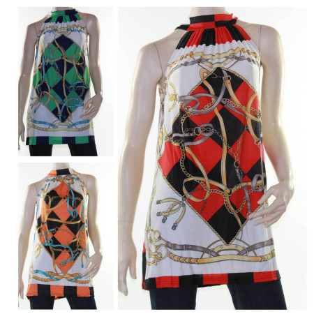 Sz 8 - 16 Womens Green Red Orange Black Halter Tunic Top Dress Harlequin Blouse