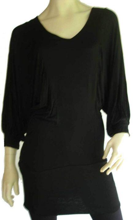Sz 8 Women LUSHOUS Black Batwing Dress Top Blouse Deep V Neck Mini