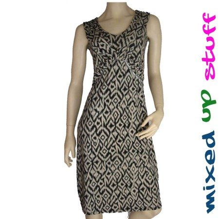 Sz 8 Women TEABERRY BLACK BEIGE DRESS STRIPE ABSTRACT V NECK DRAPE AZTEC